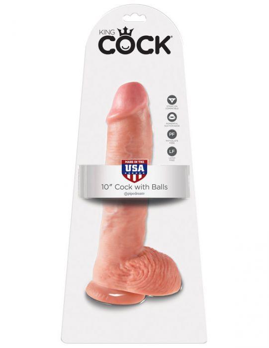 "King Cock 10"" with Balls Flesh"