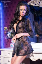 Chilirose Outstanding Lace Robe Black