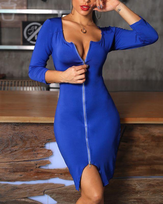 Midi Zipper Dress Blue