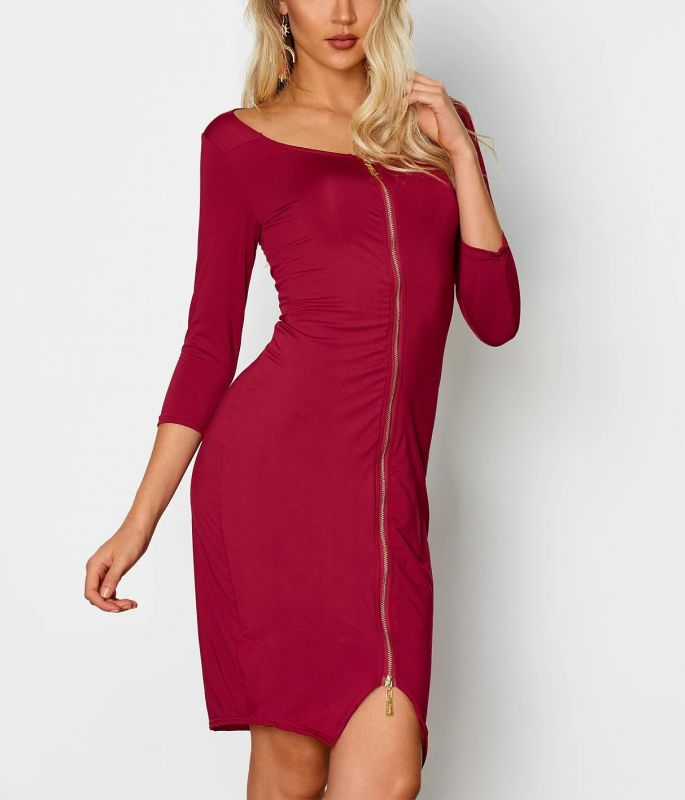 Midi Zipper Dress Burgundy