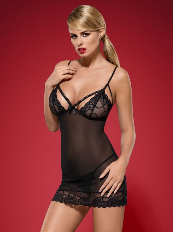 Obsessive Wonderia chemise and thong black