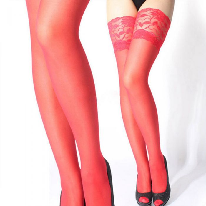 Sheer Lace Top Stockings Red
