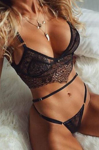 Sexy Lace Bra Set Black