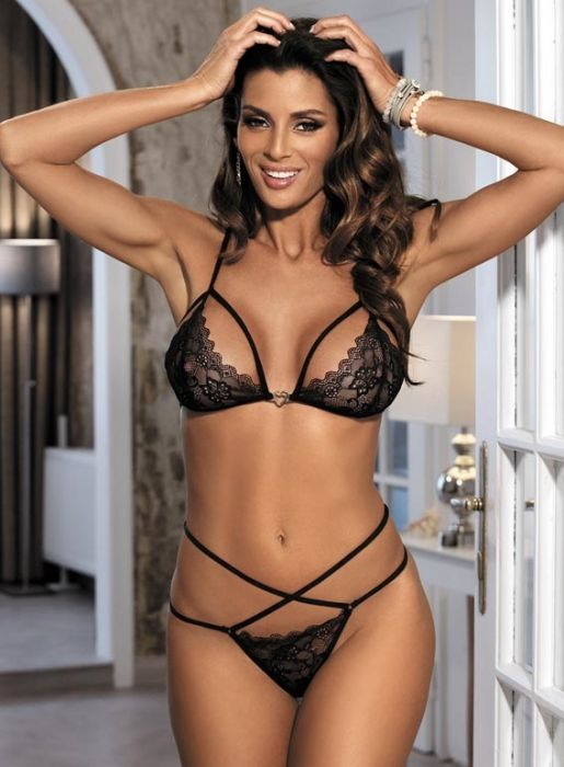 Sexy Lace Strapy Bra and Thong Set