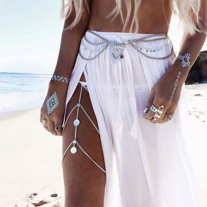 Boho Leg Chain Silver
