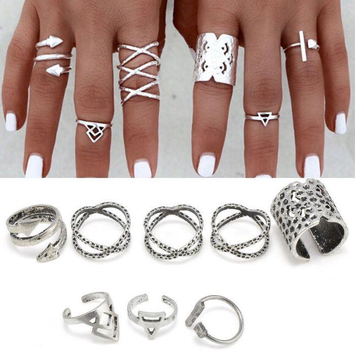 Silver 8pcs Ring