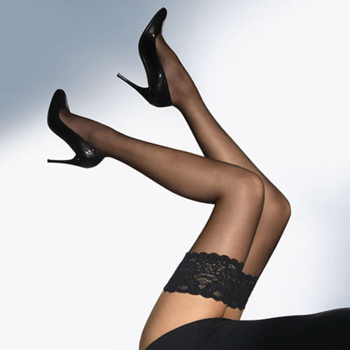 Sheer Lace Top Stockings Black
