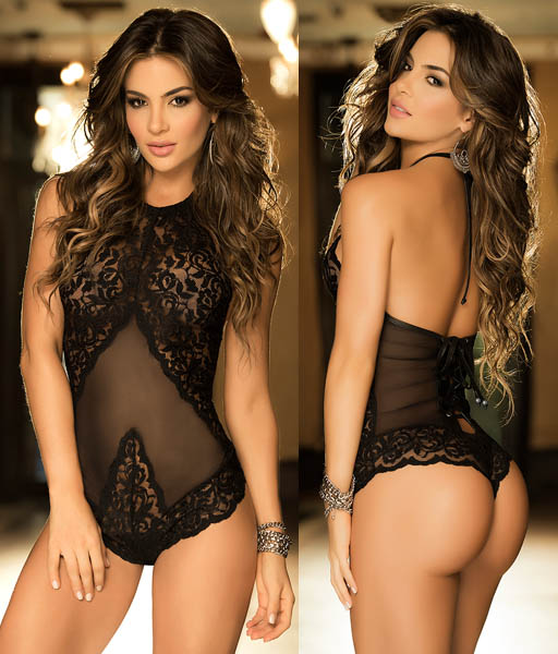 Lace Teddy Black