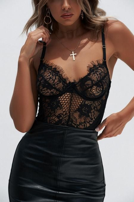 Sexy Mesh Teddy with Lace Black