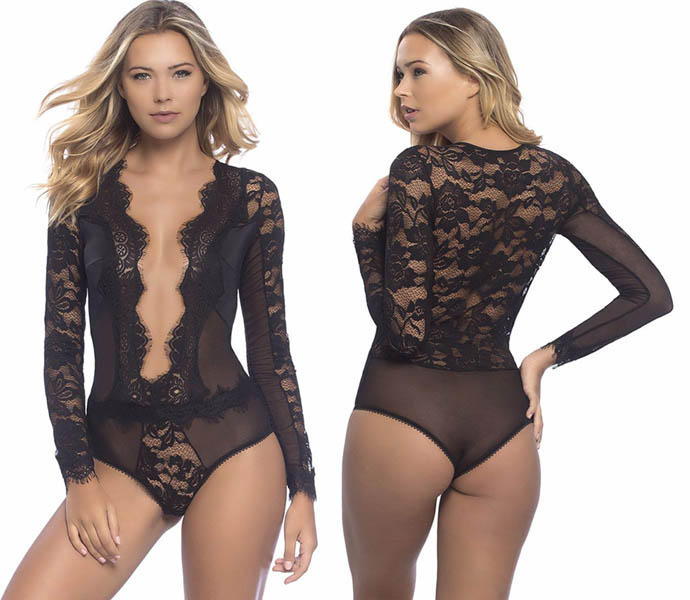 Sexy Lace Teddy Long Sleeves
