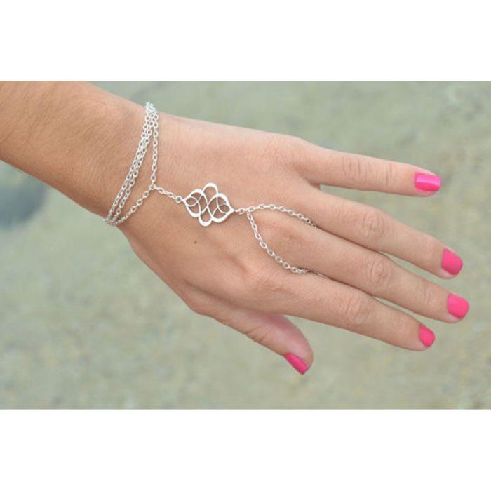 Boho Bracelet Finger Silver