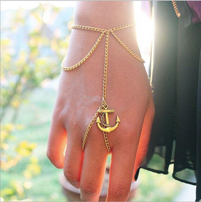 Αnchor Bracelet Finger Gold
