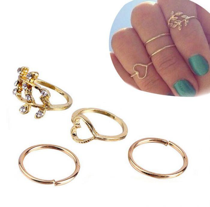 Pink Gold 4pcs Ring