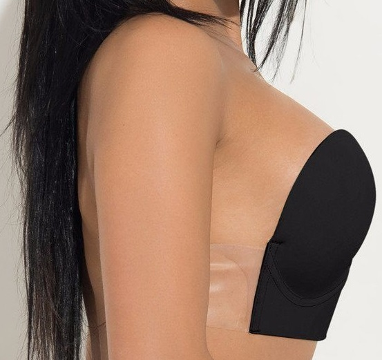 Silicone Invisible Adhesive Push Up Bra Strapless Black