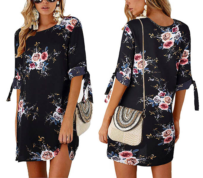 Floral Printed Casual Mini Dress Blue