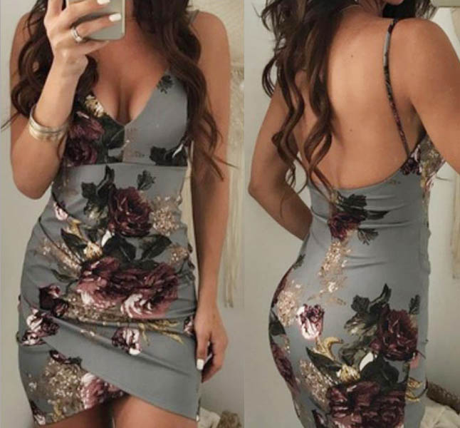 Floral Sexy Stretchy Dresses Grey