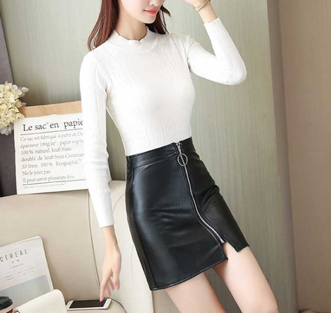 Faux Leather Zipper Skirt Black