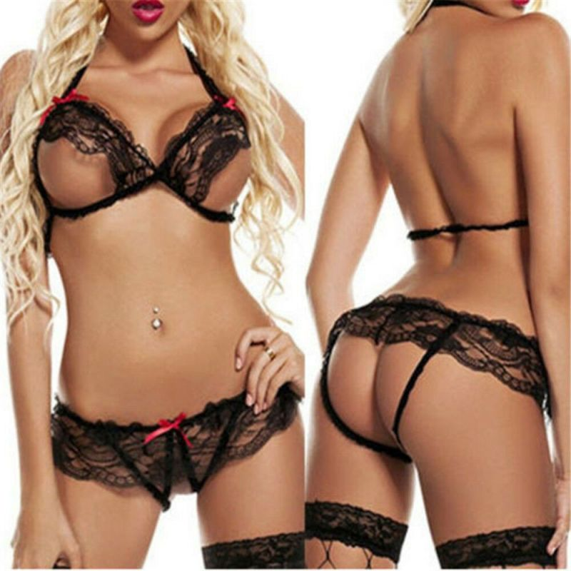 Sexy Crotchless Set Black