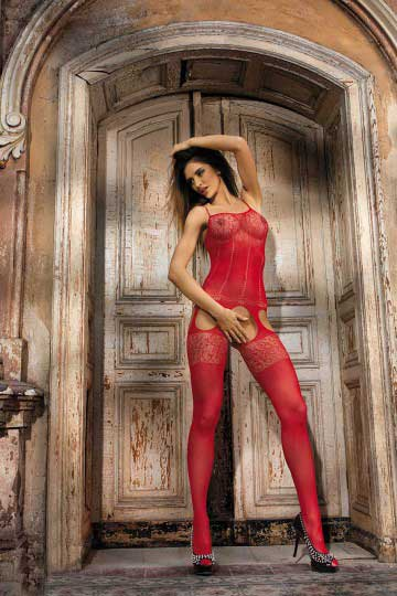 Sexy Floral Lace and Cut Out Garter Bodystocking Red