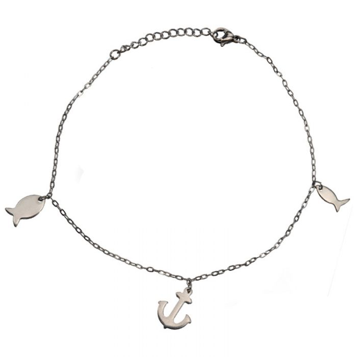 Anklet Chain with Anchor and Fishes