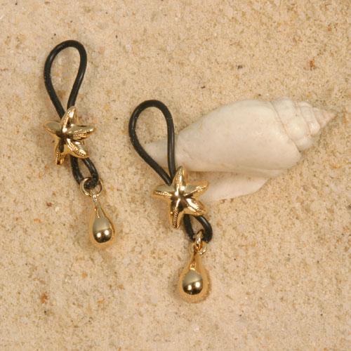 Bijoux seins Etoiles de mer col or (la paire)
