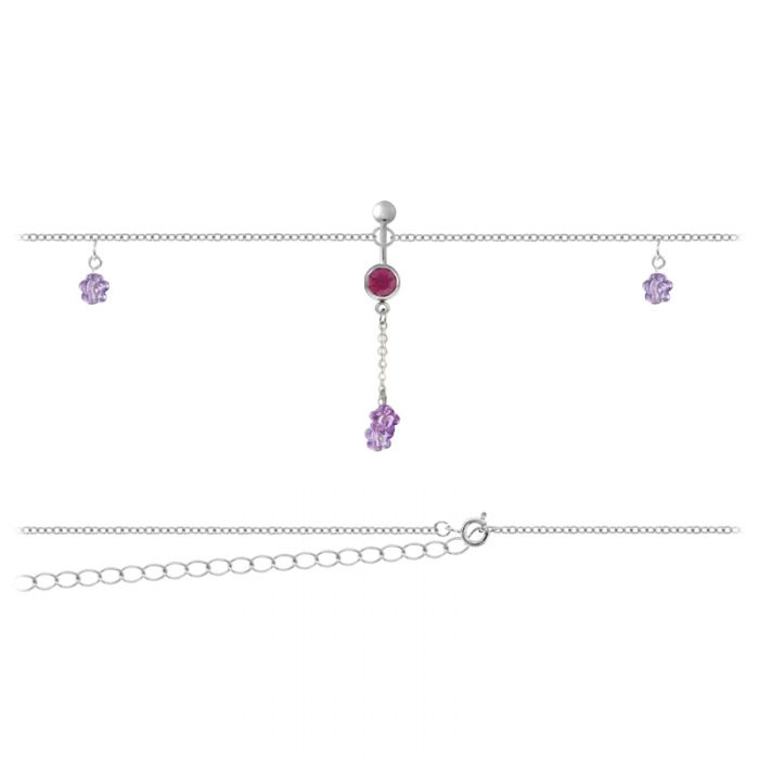 Belly Chain Flower Purple