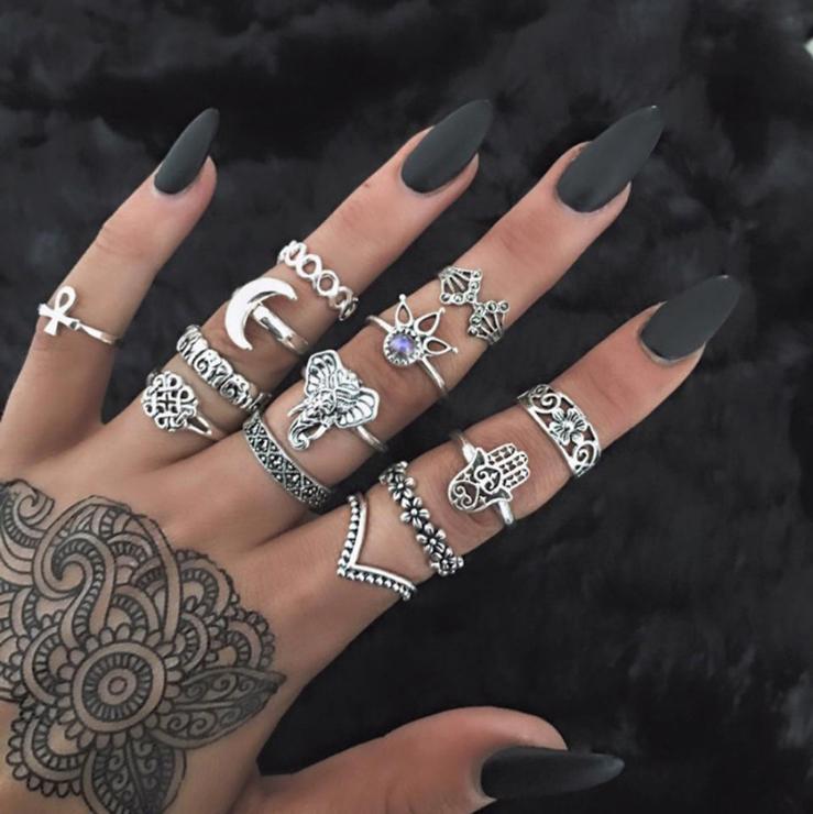 Silver 13pcs Ring