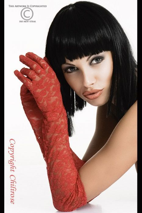 Chilirose Red Lace Gloves red