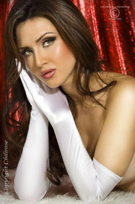 Chilirose Satin Gloves white