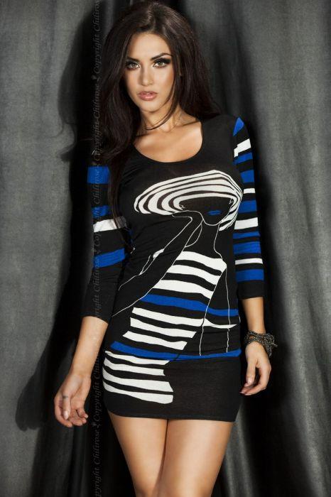Chilirose Black/Blue Mini Dress