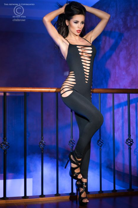Chilirose Bodystocking Black