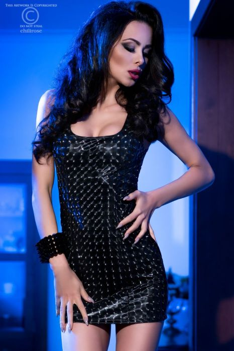 Chilirose Black Mini Dress with 3D effect