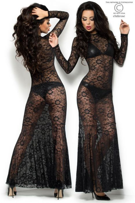 Chilirose Long Lace Dress with Bra and Panties