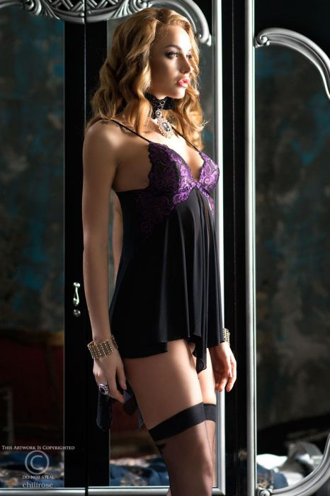 Chilirose Delicate  Purple Lace Babydoll with string