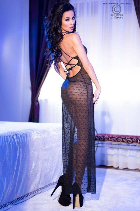 Chilirose Black Longgown and String