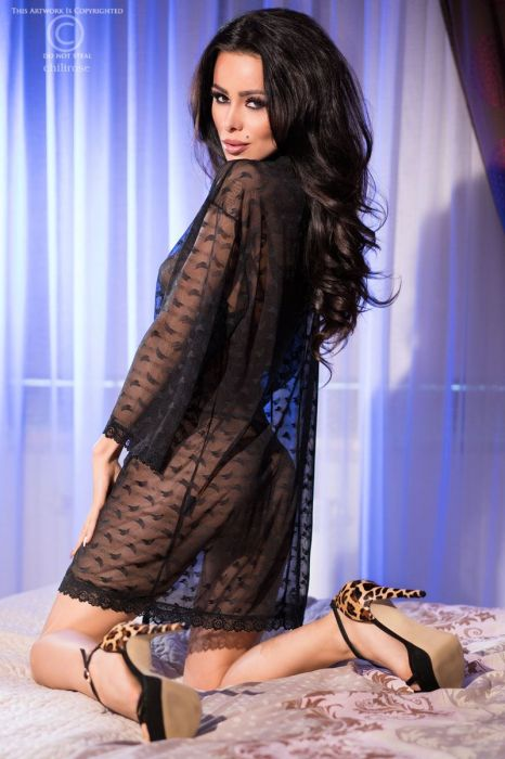 Chilirose Black Lace Robe