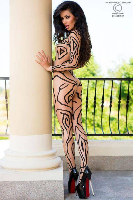 Chilirose Skin/Black Bodystocking