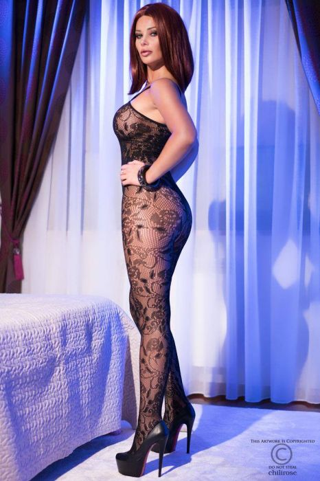 Chilirose Black superstretch Bodystocking