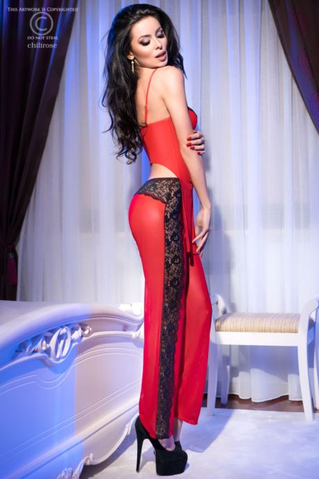 Chilirose Set with Pants Top and String Red-Black