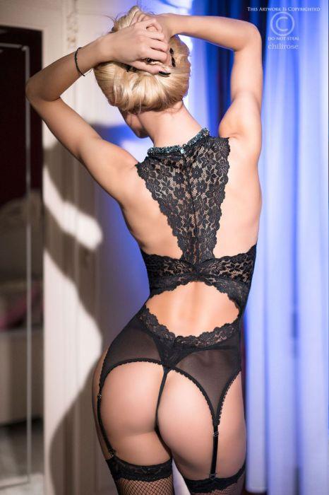Chilirose Lace Corset Black