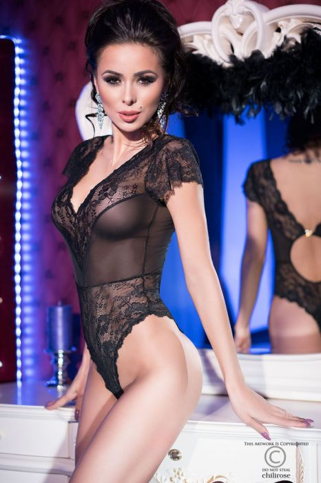Chilirose Black Lace teddy