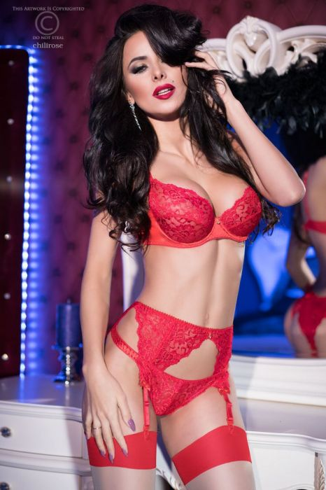 Chilirose Red lace set