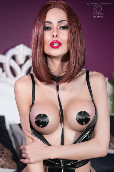 Chilirose Leather Nipples Black-Silver
