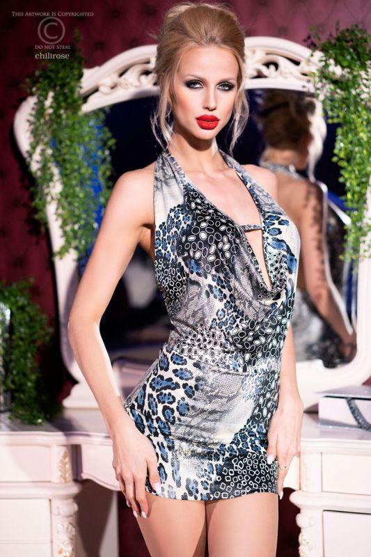 Chilirose Sexy Blue Panther Dress