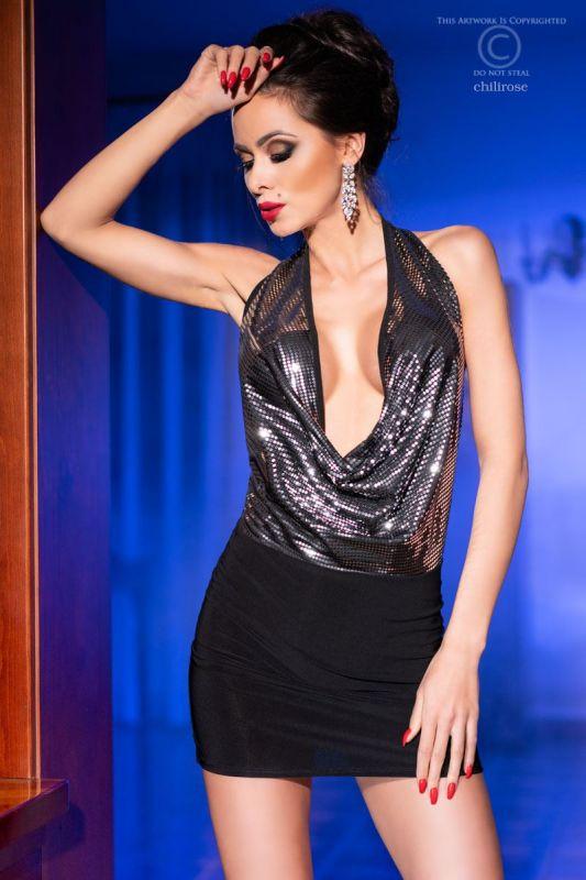 Chilirose Sexy Black-Silver Dress