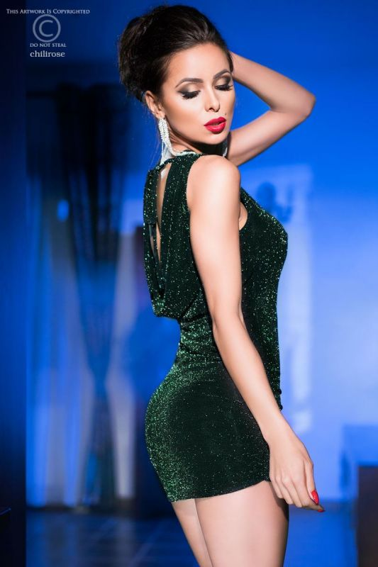 Chilirose Black Green Cocktail Dress