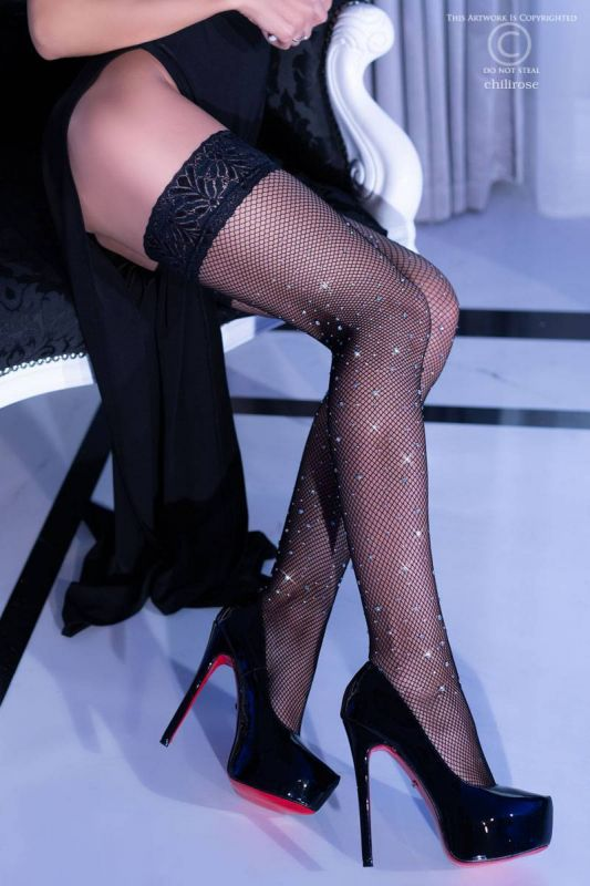 Chilirose stay-up stockings with rhinestones