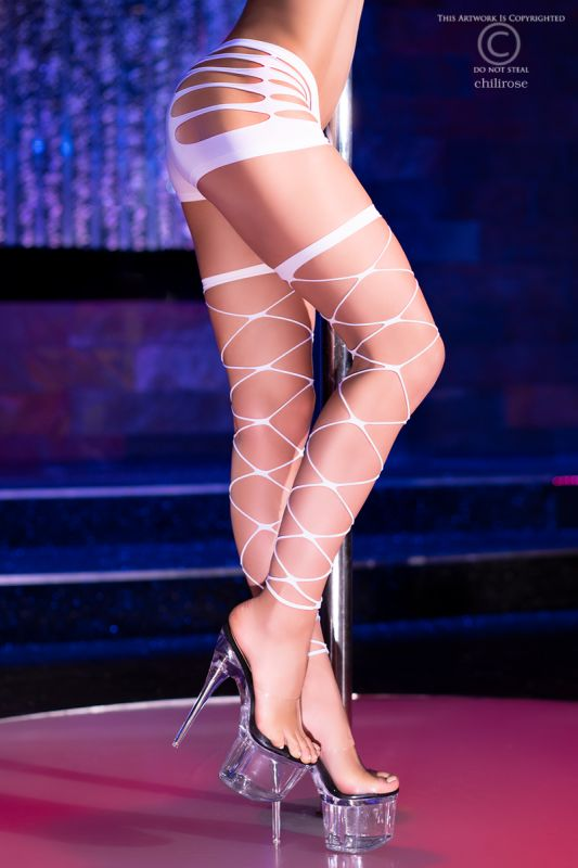Chilirose Neon-White Stockings