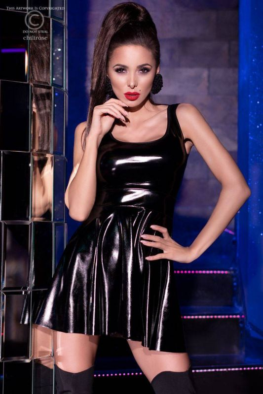 Chilirose Shiny Black Dress