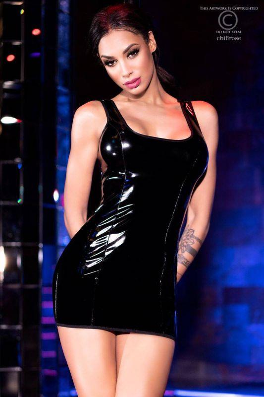 Chilirose Shiny Black Dress